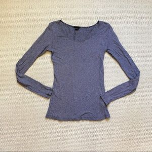 Theory striped pima cotton long sleeve top size P